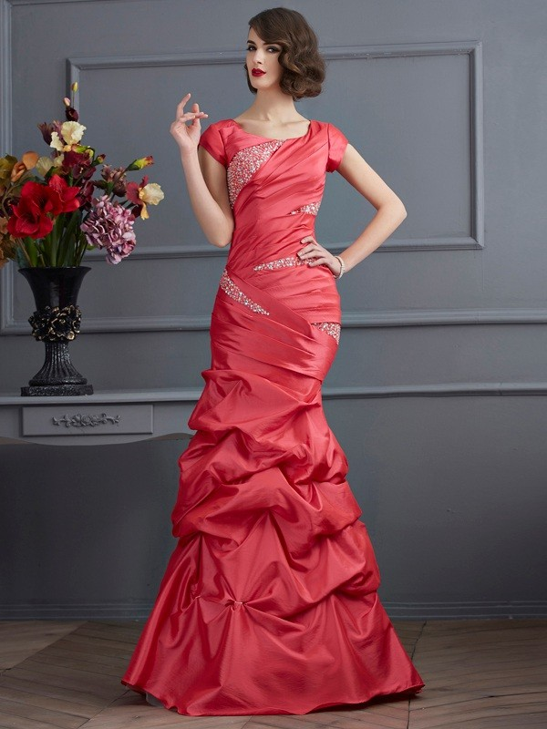 Trumpet/Mermaid Scoop Taffeta Short Sleeves Floor-Length Dresses