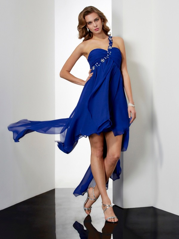 A-Line/Princess One-Shoulder Chiffon Sleeveless Asymmetrical Dresses