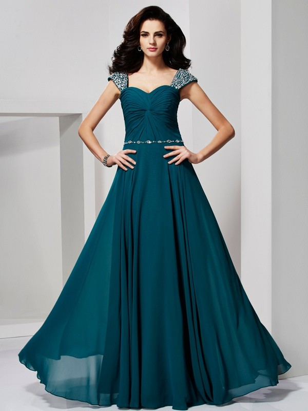 A-Line/Princess Sweetheart,Off the Shoulder Chiffon Sleeveless Floor-Length Dresses