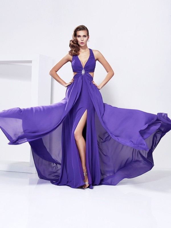 A-Line/Princess V-neck Chiffon Sleeveless Sweep/Brush Train Dresses