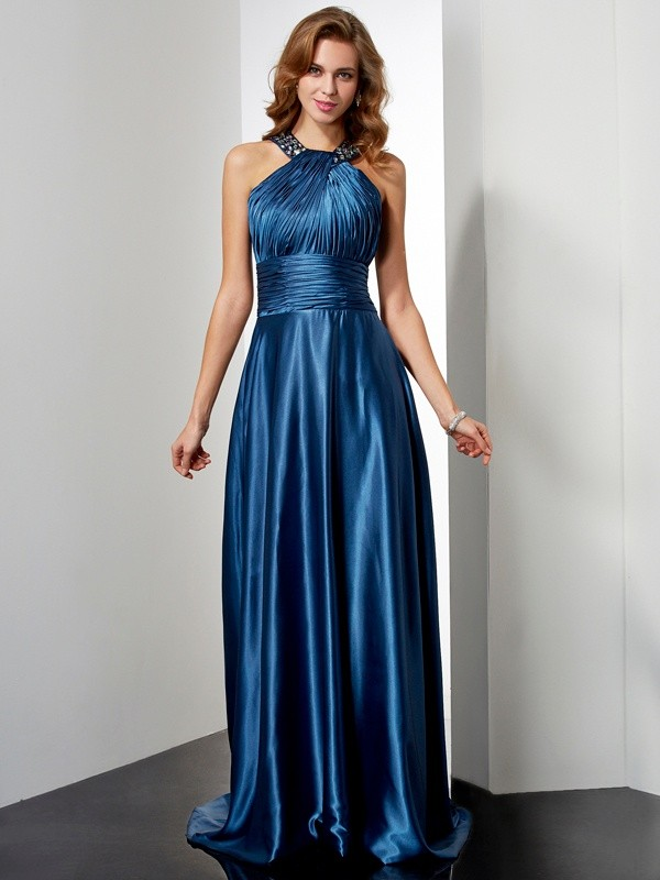A-Line/Princess Halter Elastic Woven Satin Sleeveless Floor-Length Dresses
