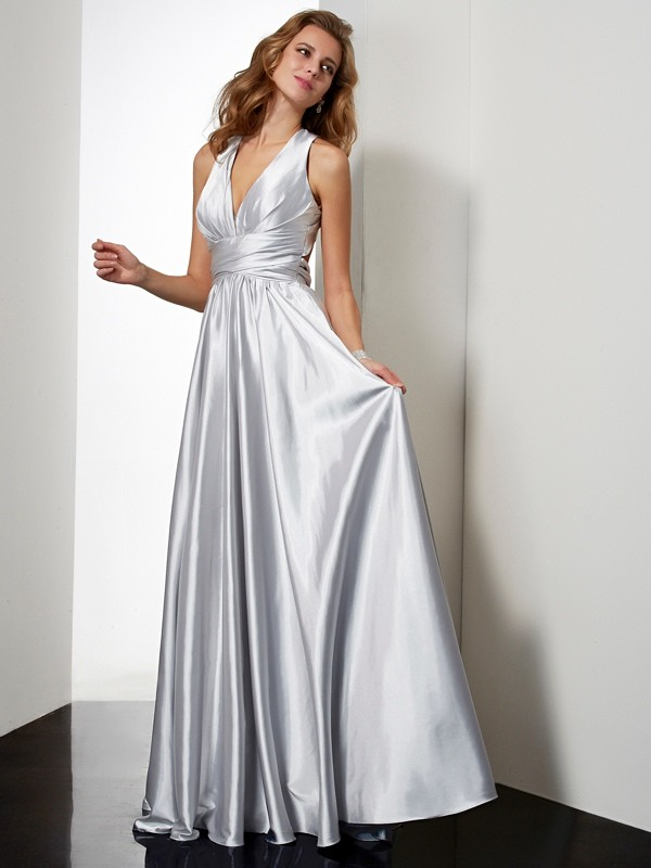 Sheath/Column Halter Elastic Woven Satin Sleeveless Floor-Length Dresses