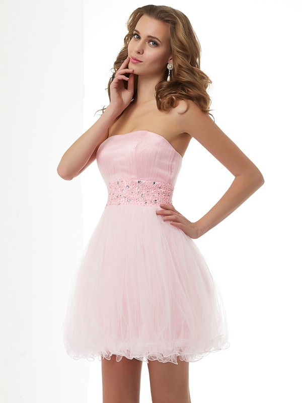 Sheath/Column Sweetheart Elastic Woven Satin,Net Sleeveless Short/Mini Dresses