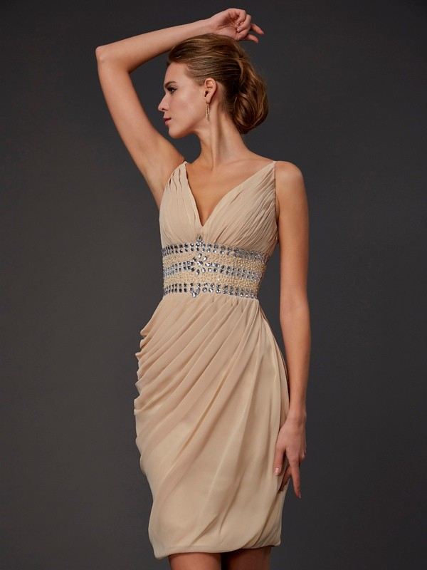 Sheath/Column V-neck Chiffon Sleeveless Short/Mini Dresses