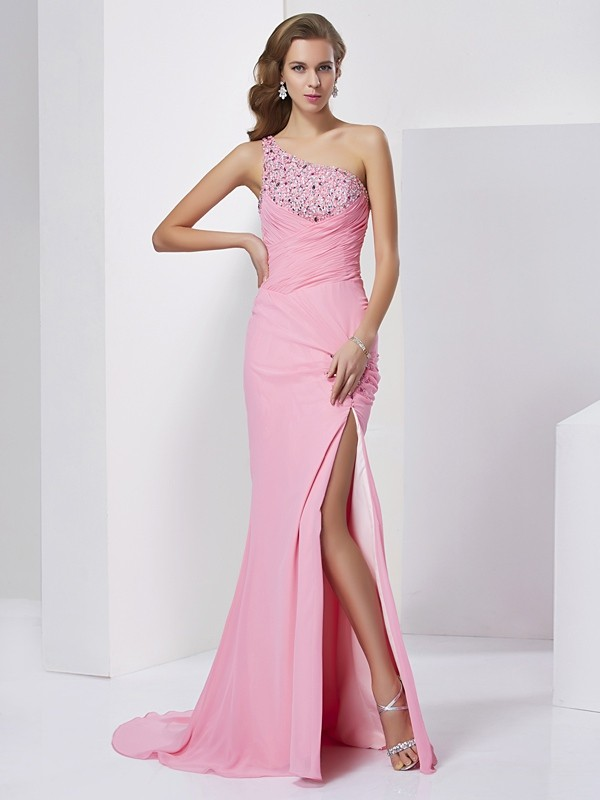 Sheath/Column Sweetheart Chiffon Sleeveless Sweep/Brush Train Dresses