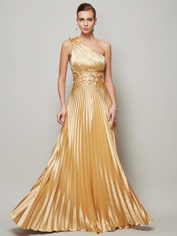 A-Line/Princess One-Shoulder Elastic Woven Satin Sleeveless Floor-Length Dresses