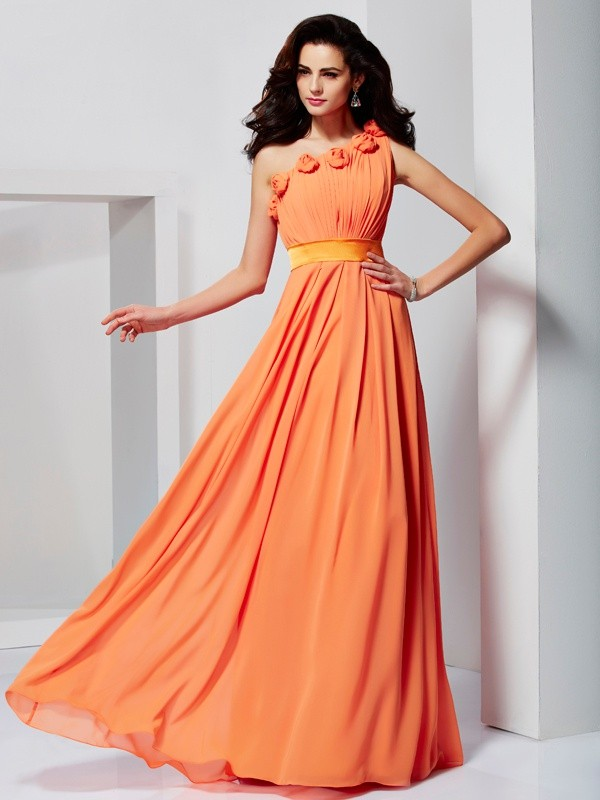 A-Line/Princess One-Shoulder Chiffon Sleeveless Floor-Length Formal Dresses