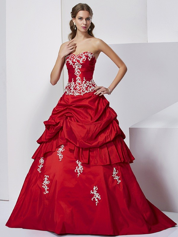 Ball Gown Sweetheart Taffeta Sleeveless Floor-Length Formal Dresses