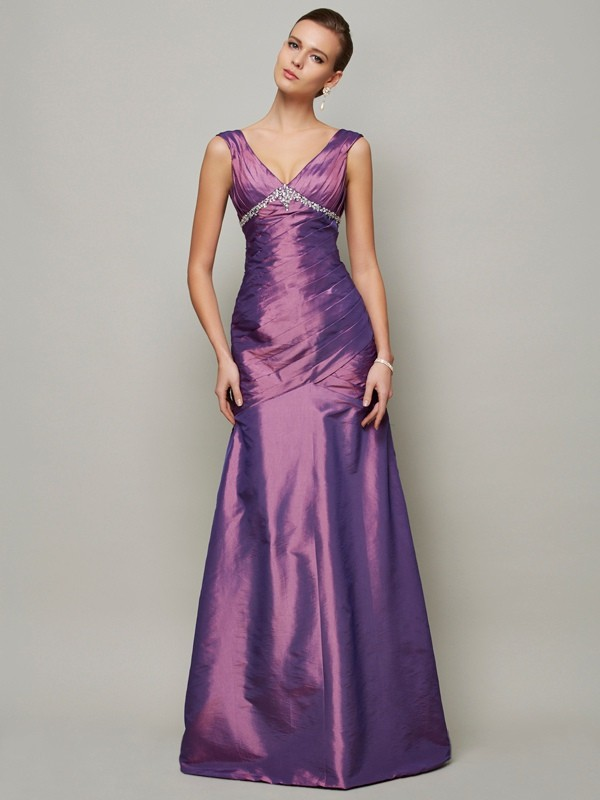 Sheath/Column V-neck Taffeta Sleeveless Floor-Length Dresses