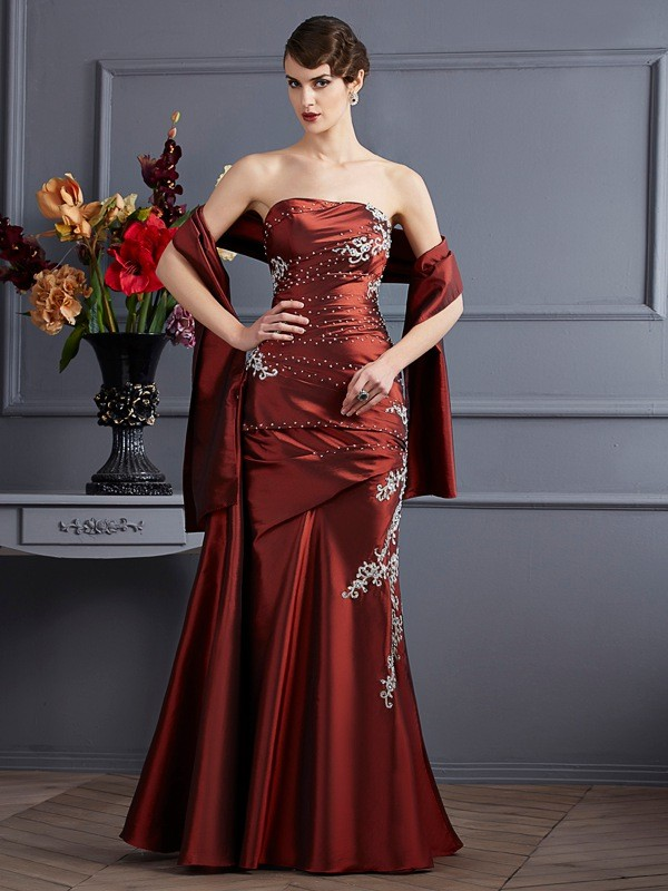 Sheath/Column Strapless Taffeta Sleeveless Floor-Length Dresses