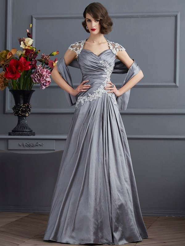 A-Line/Princess Sweetheart Taffeta Short Sleeves Floor-Length Evening Dresses