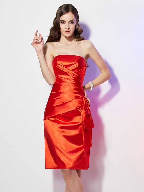 Sheath/Column Strapless Elastic Woven Satin Sleeveless Short/Mini Dresses