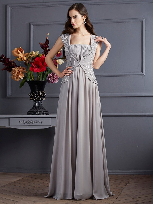 A-Line/Princess Square Chiffon Sleeveless Floor-Length Dresses