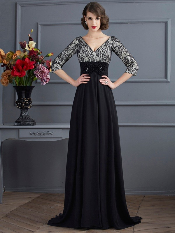 Sheath/Column V-neck Chiffon,Elastic Woven Satin 3/4 Sleeves Sweep/Brush Train Dresses