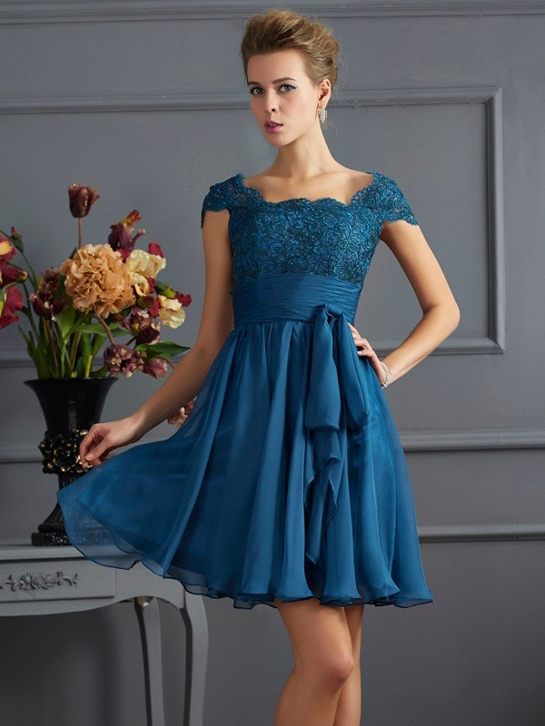 A-Line/Princess Scoop Chiffon Short Sleeves Short/Mini Dresses