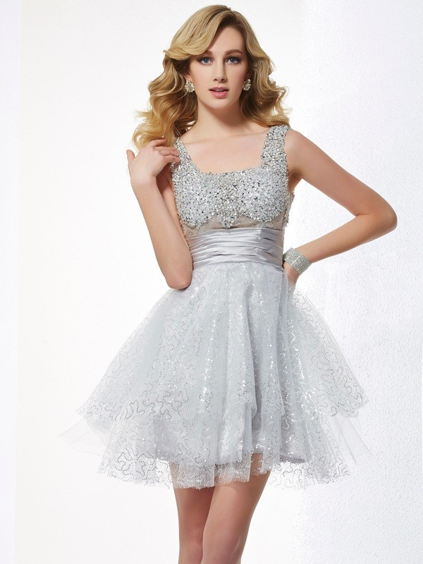 A-Line/Princess Straps Elastic Woven Satin,Net Sleeveless Short/Mini Dresses