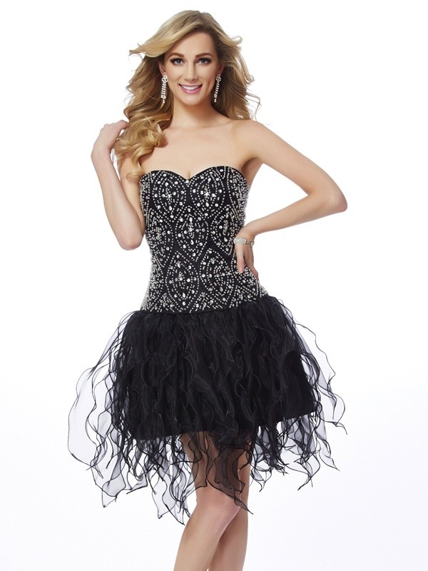 Sheath/Column Sweetheart Organza Sleeveless Short/Mini Dresses