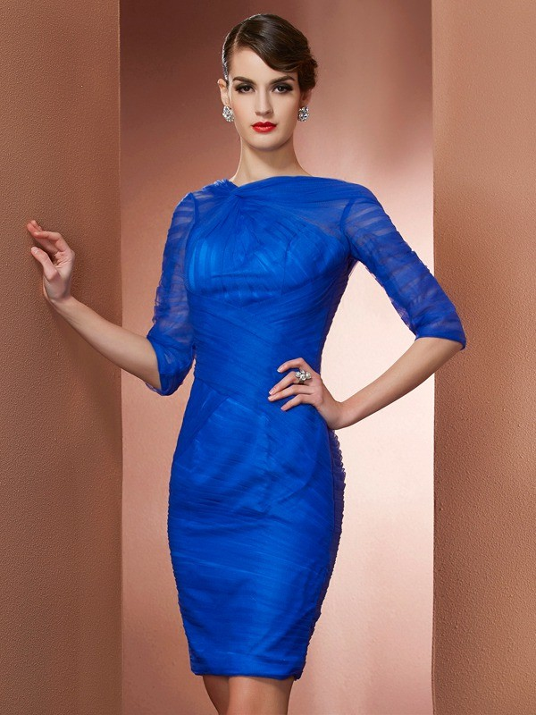 Sheath/Column High Neck Elastic Woven Satin,Net 1/2 Sleeves Short/Mini Dresses