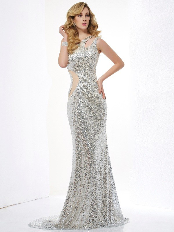 Trumpet/Mermaid One-Shoulder Lace,Sequins Sleeveless Sweep/Brush Train Dresses