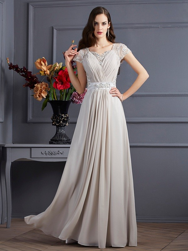 A-Line/Princess Sweetheart Chiffon Short Sleeves Floor-Length Dresses