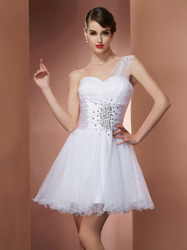 A-Line/Princess One-Shoulder Net,Satin Sleeveless Short/Mini Dresses
