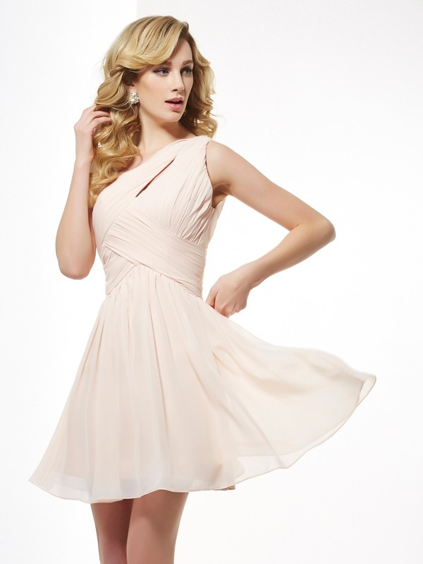 A-Line/Princess One-Shoulder Chiffon Sleeveless Short/Mini Dresses