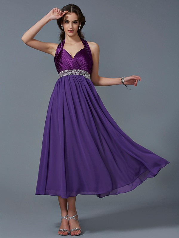 A-Line/Princess Halter Chiffon Sleeveless Ankle-Length Dresses