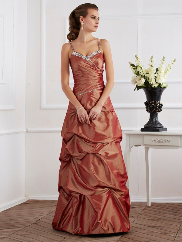 Sheath/Column Spaghetti Straps Taffeta Sleeveless Floor-Length Dresses