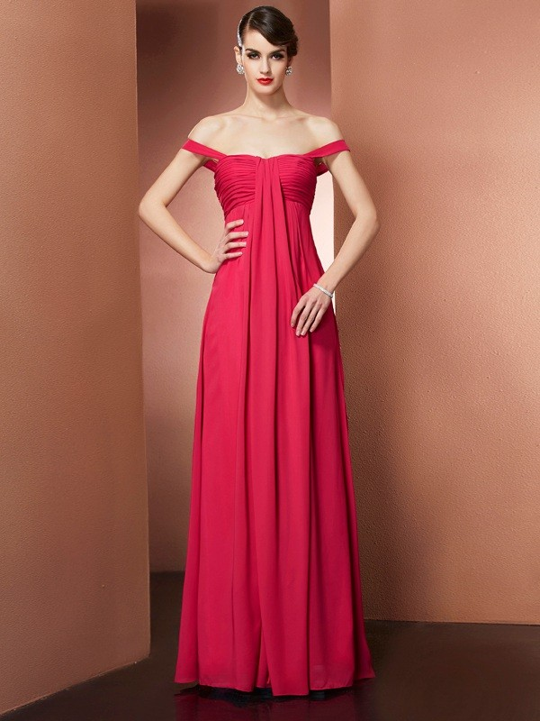 A-Line/Princess Off the Shoulder Chiffon Sleeveless Floor-Length Dresses