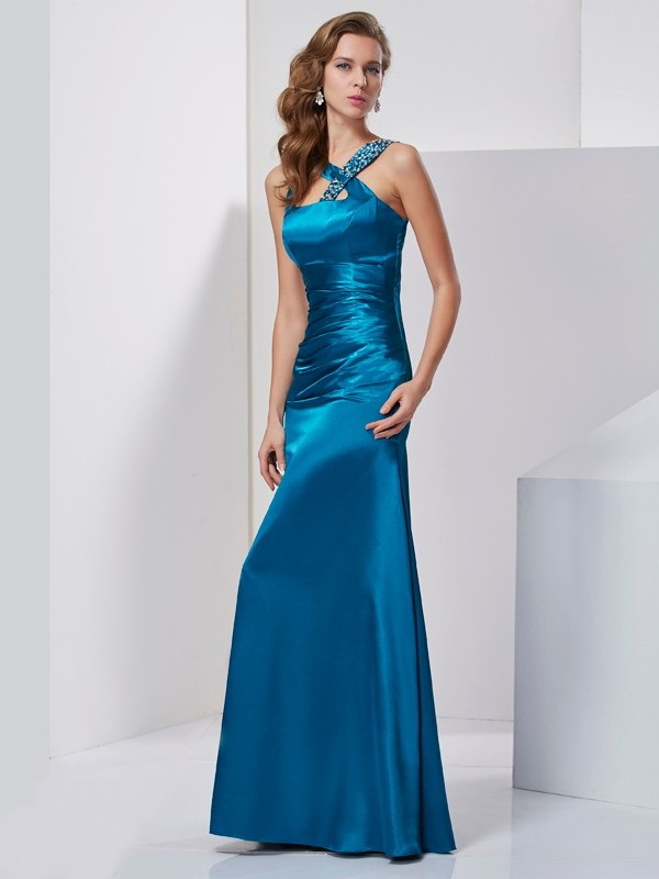 Sheath/Column Straps Silk like Satin Sleeveless Floor-Length Dresses