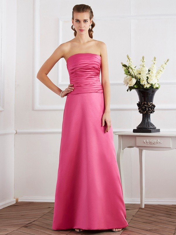 Sheath/Column Strapless Satin Sleeveless Floor-Length Dresses