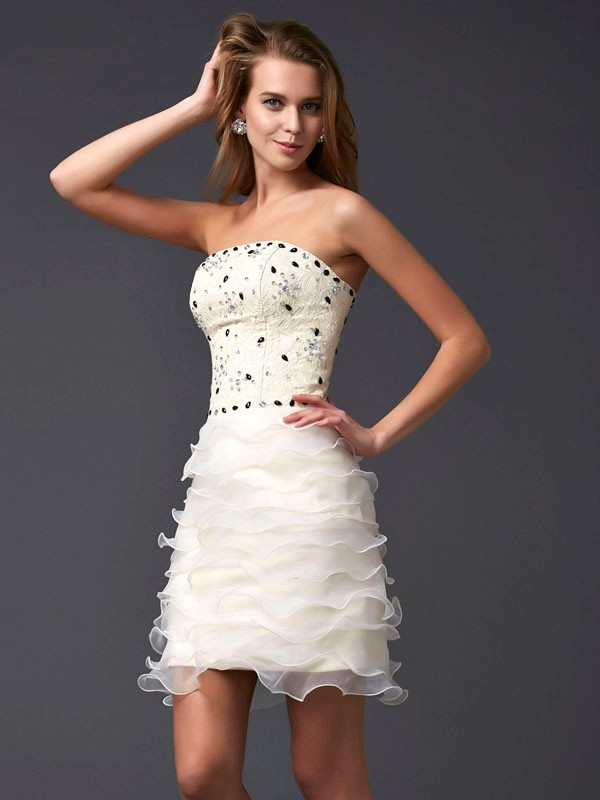 Sheath/Column Strapless Tulle Sleeveless Short/Mini Dresses