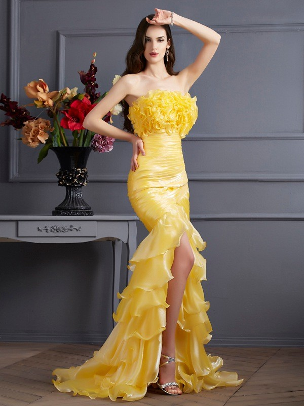 Trumpet/Mermaid Strapless Tulle Sleeveless Sweep/Brush Train Dresses