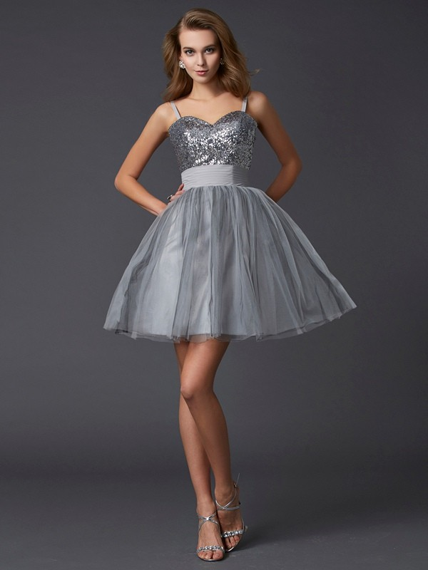 A-Line/Princess Spaghetti Straps Organza Sleeveless Short/Mini Dresses