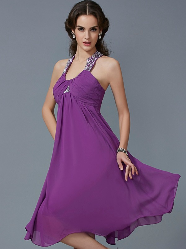 A-Line/Princess Halter Chiffon Sleeveless Knee-Length Formal Dresses