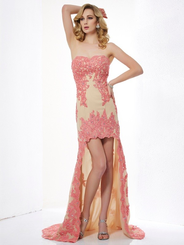 A-Line/Princess Sweetheart Lace Sleeveless Asymmetrical Dresses