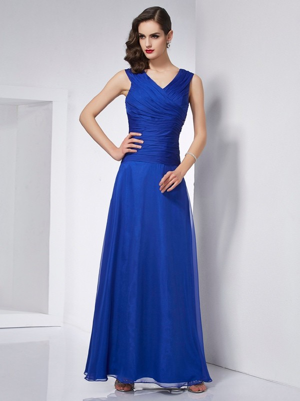 A-Line/Princess V-neck Chiffon Sleeveless Ankle-Length Dresses