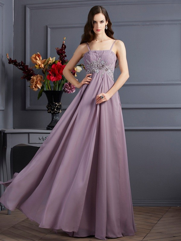 Empire Spaghetti Straps Chiffon Sleeveless Floor-Length Dresses