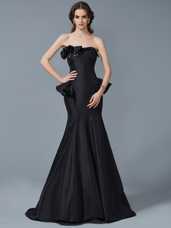 Trumpet/Mermaid Strapless Taffeta Sleeveless Sweep/Brush Train Dresses