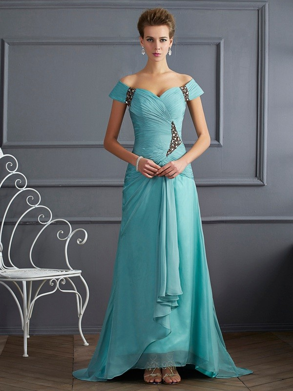 A-Line/Princess Off the Shoulder Chiffon Sleeveless Sweep/Brush Train Dresses