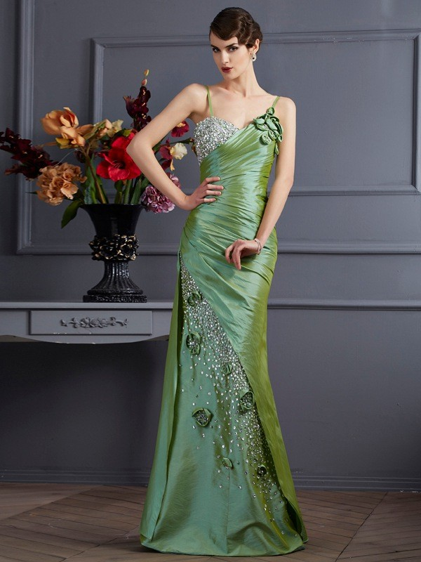 Trumpet/Mermaid Spaghetti Straps Taffeta Sleeveless Floor-Length Dresses