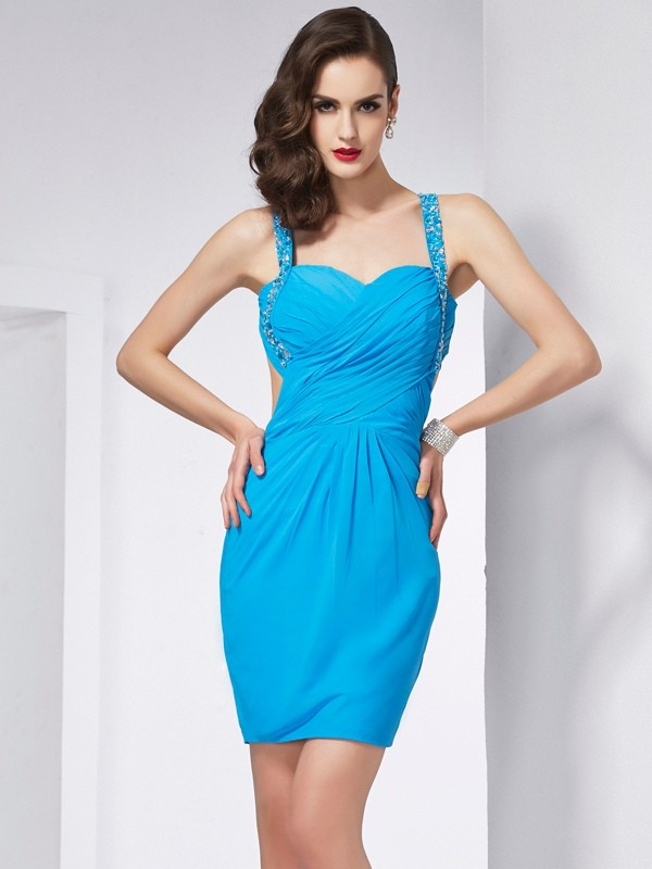 Sheath/Column Spaghetti Straps Chiffon Sleeveless Short/Mini Dresses