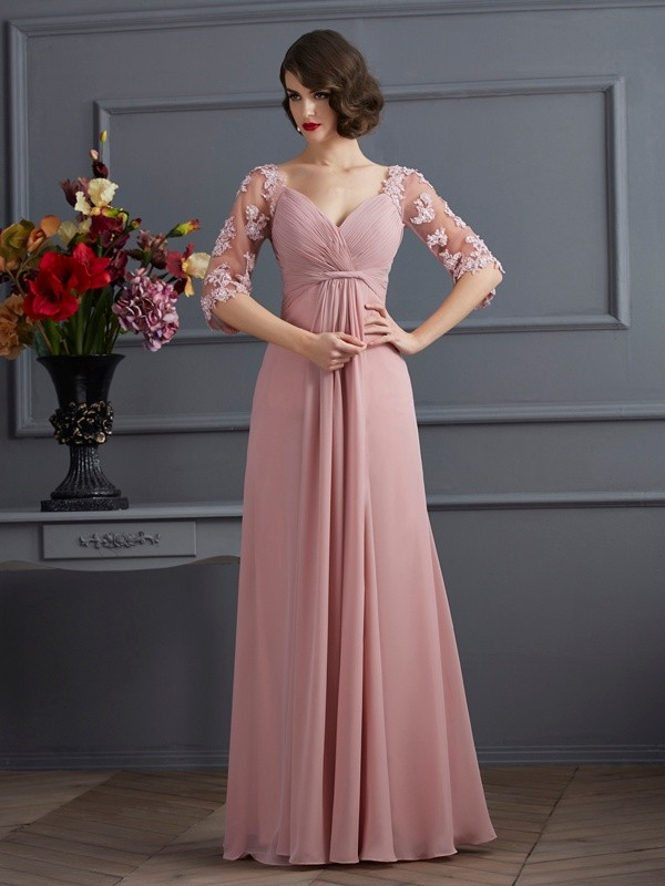 A-Line/Princess Sweetheart Chiffon 1/2 Sleeves Floor-Length Dresses