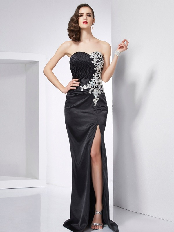 Trumpet/Mermaid Sweetheart Elastic Woven Satin Sleeveless Sweep/Brush Train Dresses