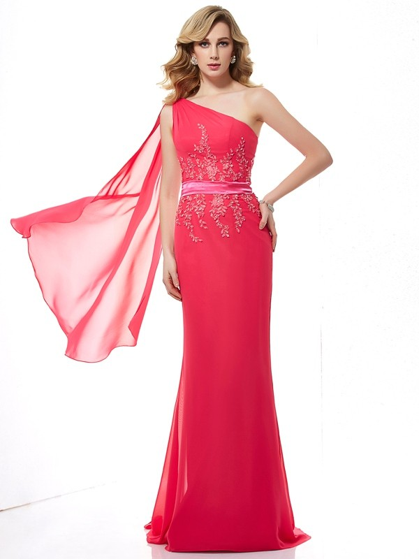 Sheath/Column One-Shoulder Chiffon Sleeveless Sweep/Brush Train Dresses