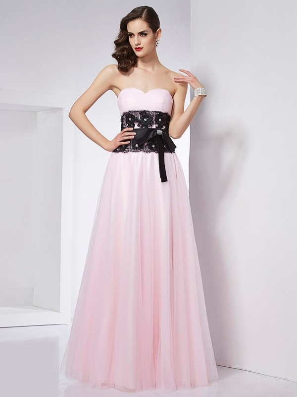 A-Line/Princess Sweetheart Net,Satin Sleeveless Floor-Length Dresses
