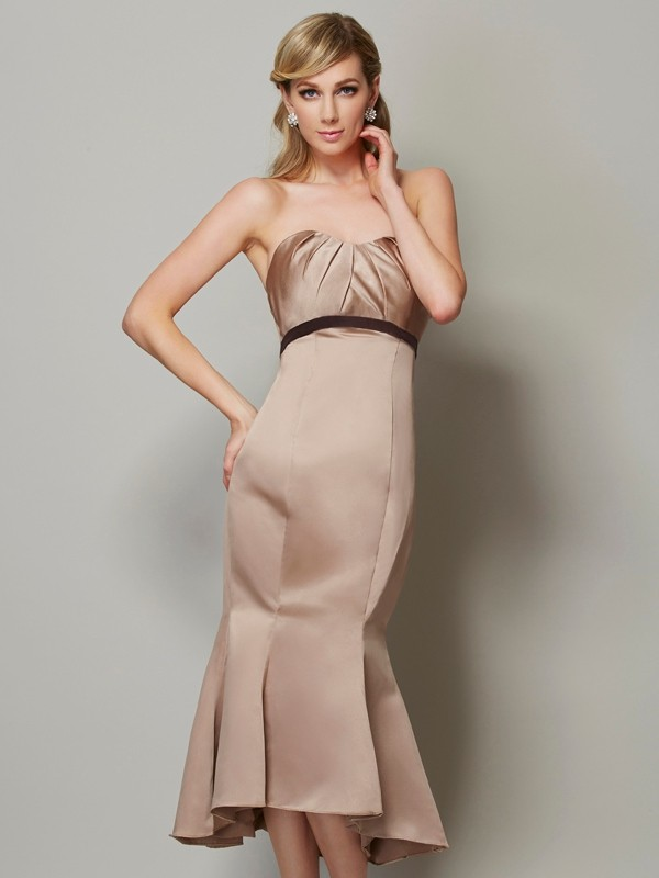Sheath/Column Strapless Satin Sleeveless Tea-Length Dresses
