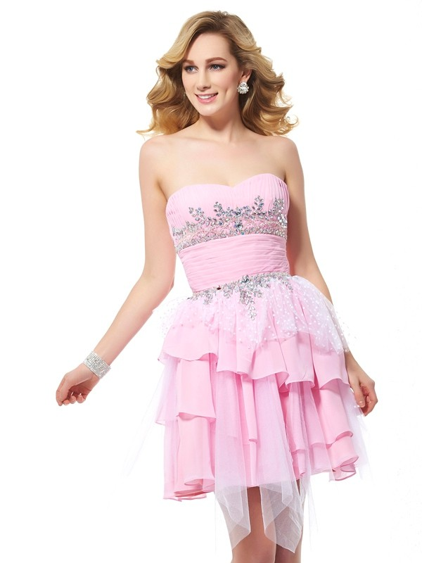 A-Line/Princess Sweetheart Chiffon,Net Sleeveless Short/Mini Dresses