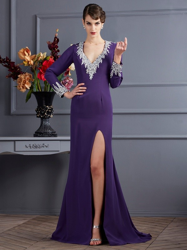 Trumpet/Mermaid V-neck Chiffon Long Sleeves Sweep/Brush Train Dresses