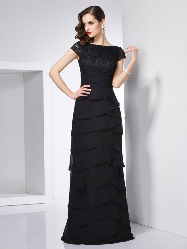 Sheath/Column Scoop Chiffon Short Sleeves Floor-Length Dresses